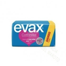 COMPRESA EVAX COTTONLIKE NORMAL ALAS 32 UNID